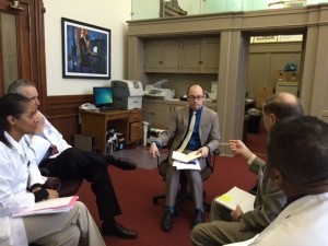 Meeting with state representative Garnet Coleman's aides about HB 566